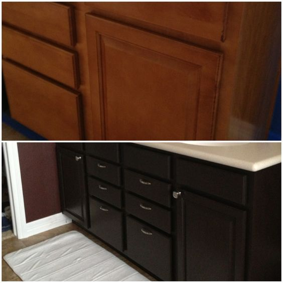 Diy Gel Stain Kitchen Cabinets Black With The Faux: Before And After. I Used General Finishes Java Gel Stain
