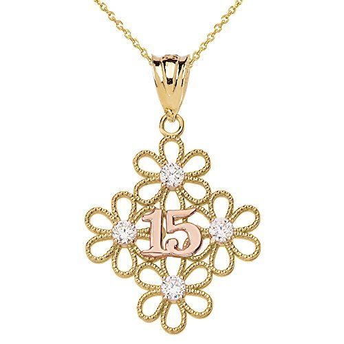 10k Two Tone Filigree Flower 15 Anos Quinceanera Pendant Necklace 18 Quinceanera Jewelry Quinceanera Quinceanera Necklace