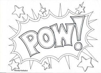 Comic Book Superhero Sound Effect Coloring Pages Em 2020 Com