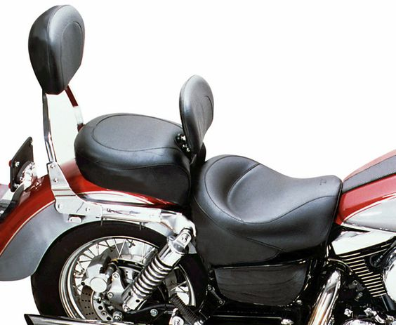 Mustang Seats Two-Piece Vintage Wide Touring w/Driver Backrest - Kawasaki Vulcan 1500 Classic (Carb) (96 - 08)