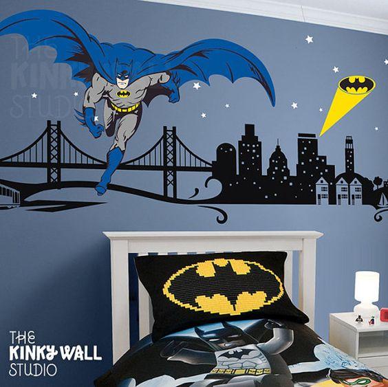 Children Wall Decal Batman Dark Knight Wall Decals Super Hero - Superhero wall decalssuper hero wall art etsy