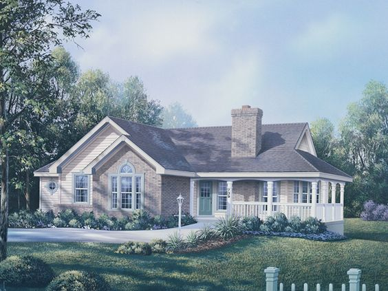 Deer ridge traditional home traditional house plans and for Brick home plans with wrap around porch