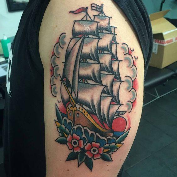 Ship tattoo by @davesimp  #Northsidetattooz #newcastle #shiptattoo #traditionaltattoo