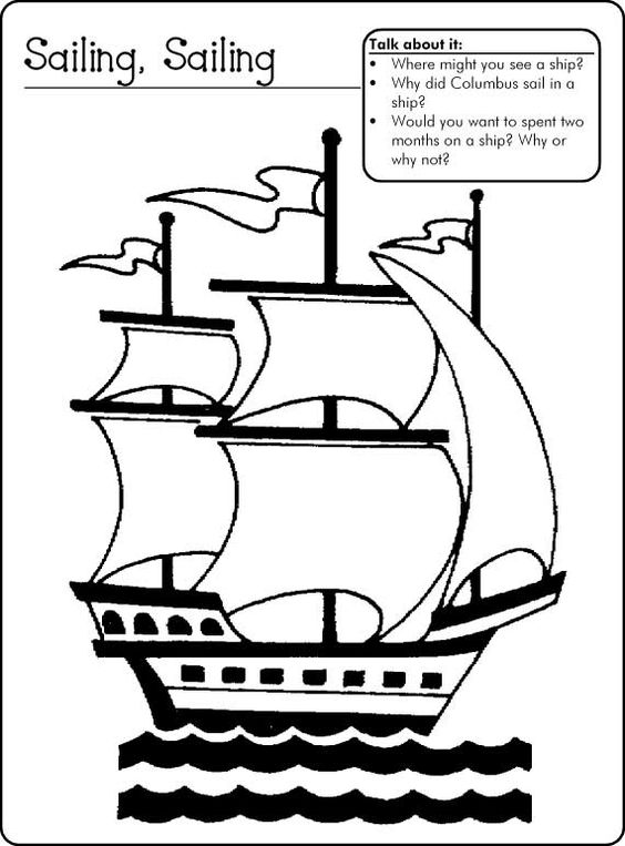 columbus three ships coloring pages - photo#23