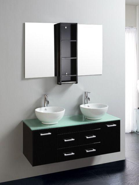 Mobile Bagno 120 Cm Con Doppio Lavabo Color Nero Mobili Bagno In