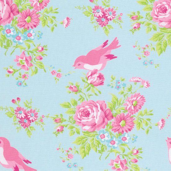 Stoff Vögel - Tanya Whelan Zoey Birdie in Blue Free Spirit USA - ein Designerstück von Rosenstoffe-Shop bei DaWanda