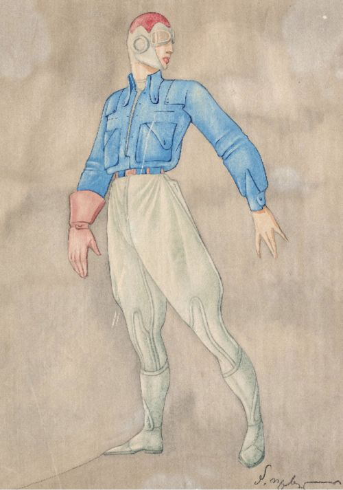 Petre Otskheli  Sketch for 'Winged Painter', 1936 - Tbilisi, Georgia  via: Georgian State Museum of Theatre, dfb6, Cinema and Choreography