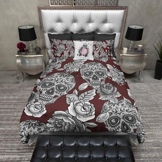 Signature Oxblood Red Sugar Skull and Rose Duvet Bedding Sets