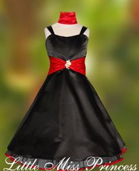 Black with Red Satin Christmas Holiday Party Dress with Peek A Boo Skirt Satin Dress
