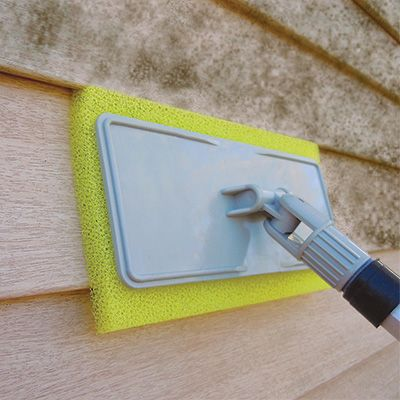 Easily clean gutters and siding from the ground Specially cut cleaning pads conform to the specific siding or gutter profile on your home, removing dust, dirt, chalk, pollen, spider webs, mold and mildew stains. Full surface contact and the unique texture let this System do the work for you safely from the ground.