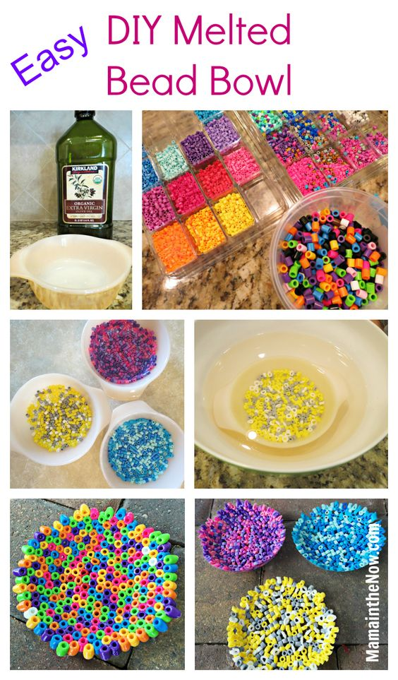 DIY Melted Bead Bowl with Perler Fuse Beads by @MamaintheNow. Easy instructions of how to make these bowls, perfect for Mother's Day and Teacher Appreciation gifts.