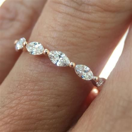 1.00ct Marquise Cut Diamond Eternity Band in 18k White Gold: