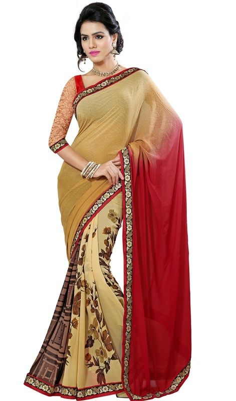 Look like a diva in this beige, red and saddle brown color georgette printed sari. The ethnic block print and lace work on the attire adds a sign of magnificence statement for the look. Upon request we can make round front/back neck and short 6 inches sleeves regular saree blouse also. #BeautifulFloralHalAndHalfSari