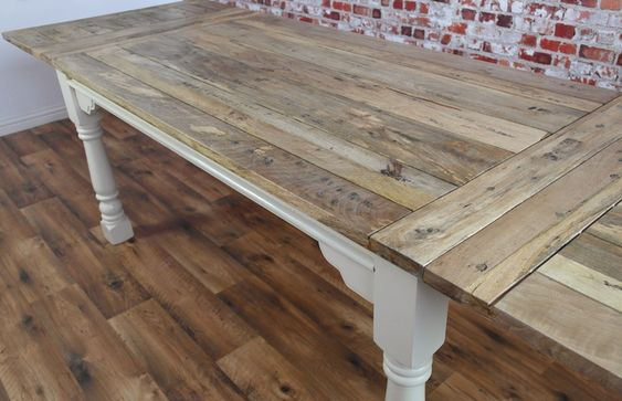Extendable Rustic Farmhouse Dining Table Painted in Farrow & Ball Seats