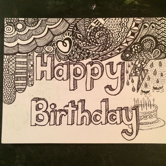 """""""Playing with birthday card zen doodles. #zendoodle #zentangle #zen #card #happybirthday #penandink #sketch #sketchtime #draw #drawing #drawtime…"""""""