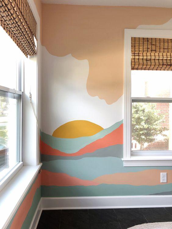горы в спальне на стене