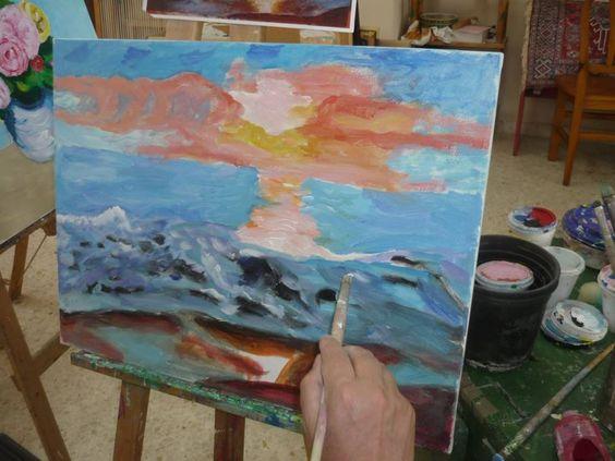 Hermosa pintura realizada con acrílicos, inspirada en un atardecer en la playa.