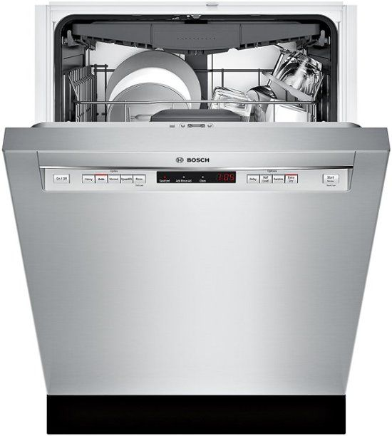 Bosch 300 Series 24 Recessed Handle Dishwasher With Stainless Steel Tub Stainless Steel Shem63w55n Best Buy Steel Tub Built In Dishwasher Integrated Dishwasher