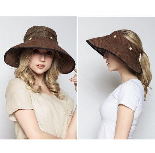 Fashion wide brim straw hat for women UV summer sun visor hat removable  5388493c0d8