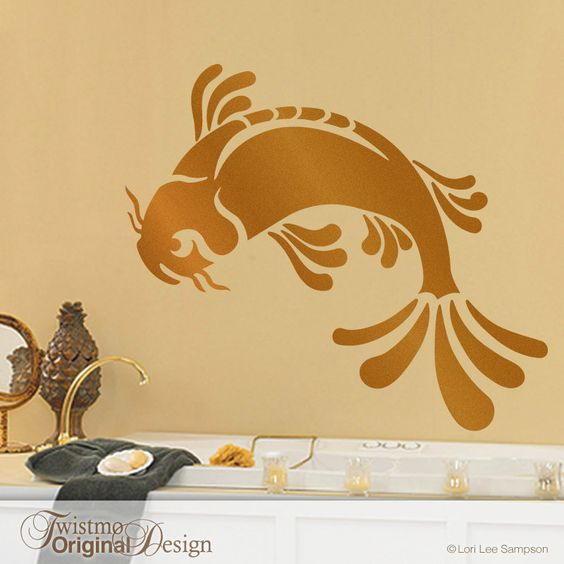 Bathroom wall decor large koi fish wall decal shown in for Koi fish wall stickers