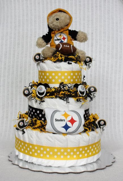 Baby Showers Pittsburgh ~ Pittsburgh steelers diaper cake by babybootydiapercakes