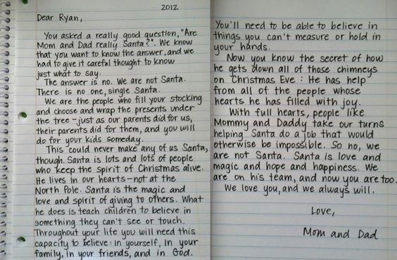 How to tell your kids the truth about Santa, so sweet and perfect. Hopefully don't need this for awhile.:
