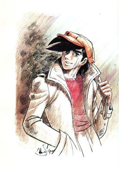 擦り切れたベージュのコートと赤いハンチング帽を身に着けているあしたのジョーの壁紙