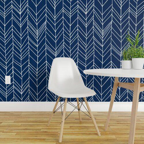 Corrigan Studio Agatha Bath 16 L X 24 W Smooth Peel And Stick Wallpaper Roll In 2021 Peel And Stick Wallpaper Black And Blue Wallpaper Blue And Gold Wallpaper