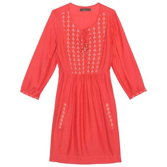 Vestido detalhe crochê vermelho