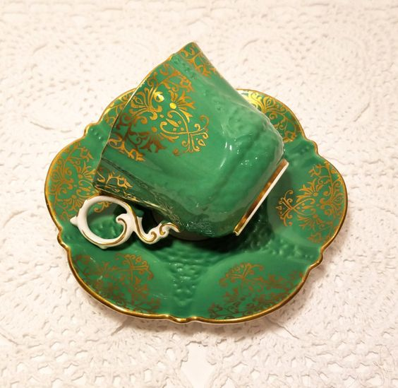 Aynsley Green Gold Tea Cup & Saucer by catladycollectibles on Etsy