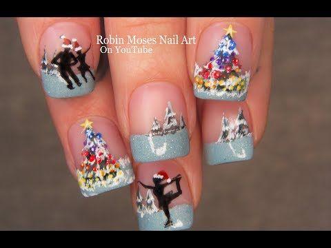 57 Christmas Ice Skaters Rainbow Tree Nail Art Design Youtube Tree Nail Art Tree Nails Nail Art Designs