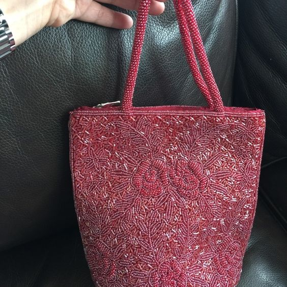 """Evening Bag Bran new Burgundy evening bag 8""""x8"""" oval bottom, zipper top, two handles , Staten  lining with one phone pocket. Bags Mini Bags"""