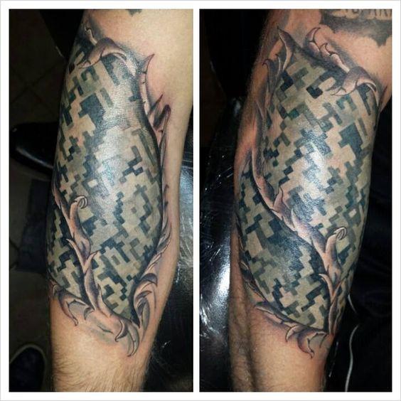 Torn skin digital camouflage tattoo tattoos pinterest for Camo sleeve tattoos
