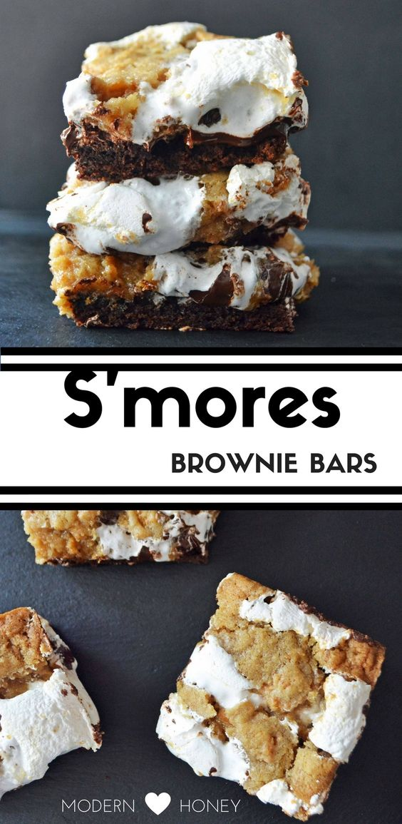 Homemade S'mores Brownie Bars made with rich chocolate brownies, graham cracker cookie dough, marshmallow cream, and milk chocolate. It's the ultimate dessert bar.