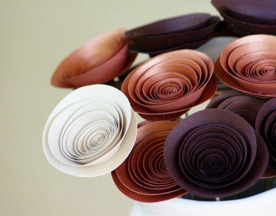 Schokolade & Kupfer Modern Papier Blumenschmuck von FlowerThyme