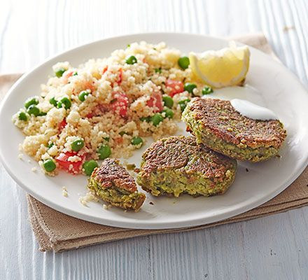 Pea falafels with minty couscous salad: Give falafel a makeover by using a mix of chickpeas and frozen peas, serve with couscous and a dollop of yogurt for a cheap but tasty meal