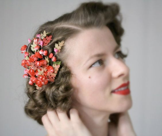 Red Cherry Blossom Fascinator by ChatterBlossom #red #cherry #blossom #fascinator #hair #floral #headpiece #1950s