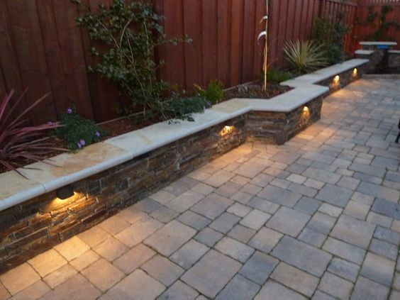 Backyard Lighting Patio, Patio Retaining Wall Ideas Uk