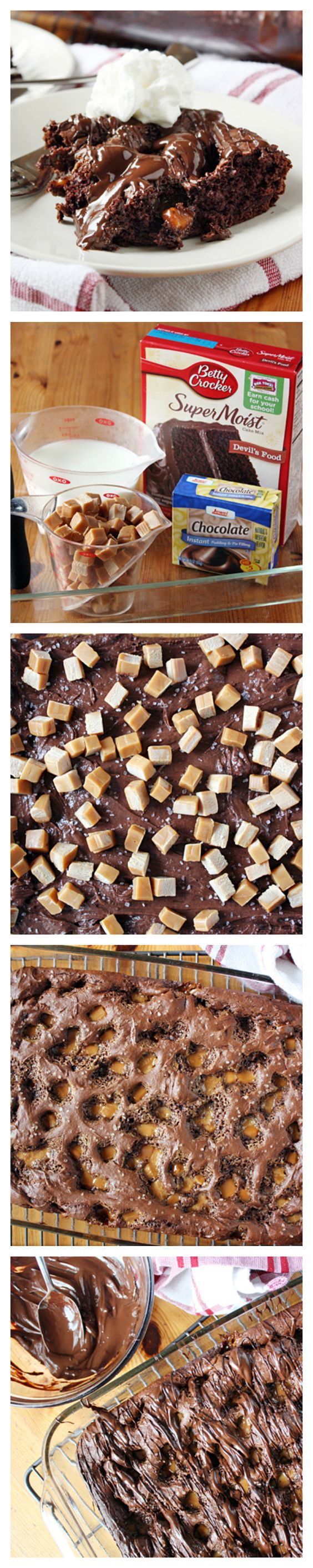 """Salted Caramel- Chocolate Dump Cake. The answer is always """"yes"""" to caramel and chocolate. This cake is beyond easy. Throw all the ingredients into a 13x9, and voila! You've got a dessert that will make you melt. This recipe is a perfect dessert idea for a quick weeknight indulgence."""