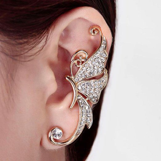 Amazon.com : Kingfansion Splendid Cute Crystal Butterfly Wings Ear Clip Clamp Earring Fashion Jewelry for Women(only 1pc) (White) : Beauty: