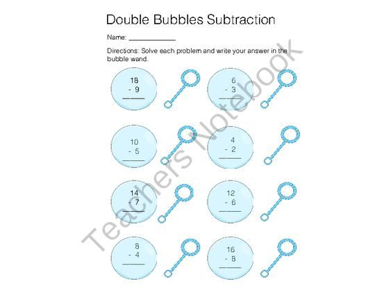 Spring Bubble Doubles Subtraction from The Teaching Nomad on – Doubles Subtraction Facts Worksheets