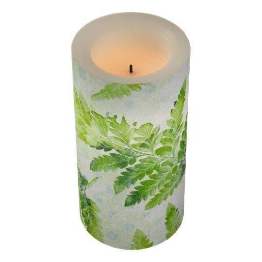 Green Fern Leaves Modern Botanical Watercolor Flameless Candle