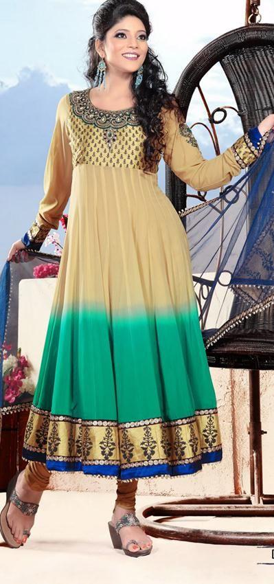 $188.38 Brown Full Sleeve Faux Georgette Long Anarkali Salwar Kameez 21400