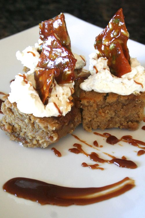 & bourbon cake with pumpkin seed brittle & homemade whipped cream ...