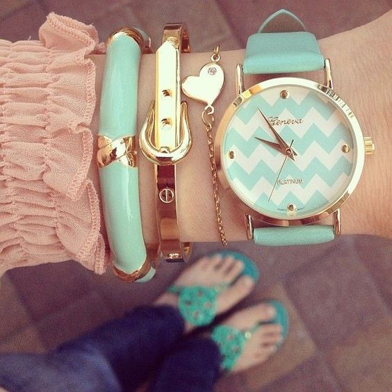 Get the look with our fab watch and bracelets! -- Spring Summer Fall Winter Fashion. www.psiloveyoumoreboutique.com