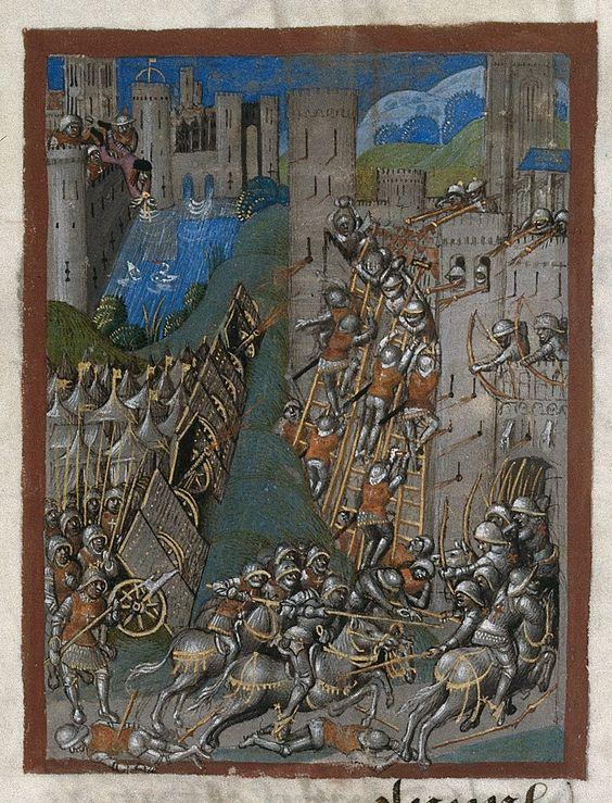 Siege of Montargis. Chroniques de France ou de Saint Denis (from 1422 to 1460) France, N. (Calais?); 1487. ff. 1-299v. British Library, Royal 20 E VI f. 22
