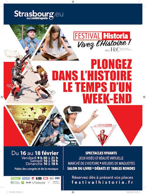 La Sabretache sera présente du 16 au 18 février 2018 à l'étonnant Festival Historia de Strasbourg qui constitue une première, un rendez-vous de tous les passionnés mais aussi spécialistes et professionnels de l'Histoire !