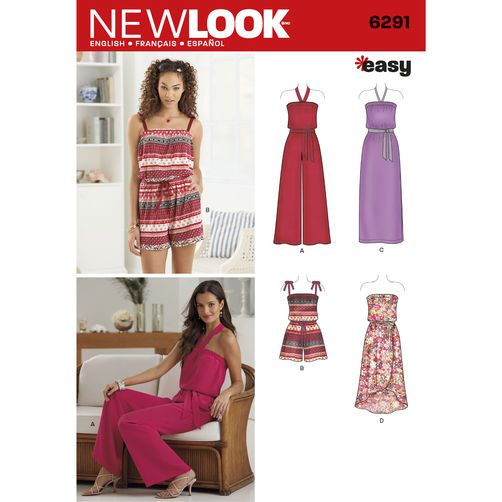 New Look Pattern 6291 Misses' Jumpsuit & Dress Each in Two Lengths: