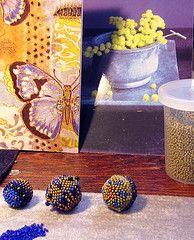 Blue, chartreuese beaded beads in progress...my work