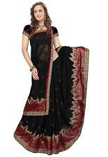 Utsav Fashion - Black Faux Georgette Saree with Blouse Price: INR 2620  | http://www.cbuystore.com/product/utsav-fashion-black-faux-georgette-saree-with-blouse/10146382 | United States